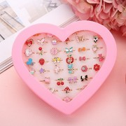Fineder 36pcs Children Kids Little Girl Jewelry Adjustable Rings in Box, Girl Pretend Play and Dress up Rings,Random Shape and Color, little girls Gift, Valentine's Day Gift