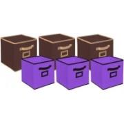 Billion Designer Non Woven 6 Pieces Small & Large Foldable Storage Organiser Cubes/Boxes (Coffee & Purple) - CTKTC35371 CTKTC035371(Coffee & Purple)