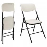 [casa.pro] Set de 4 sillas de camping plegables (47 x 39 x 87 cm) (blanco - negro) resistentes a rayos UVA - al agua - set ahorro - sillas para exteriores