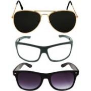 shadz Aviator, Aviator, Aviator Sunglasses(Black, Clear, Black)