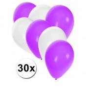 Shoppartners 30x ballonnen wit en paars