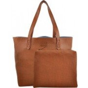 Yelloe Yelloe Tan Synthetic Leather Tote Bag With punched surface and shoulder handles Tan Tote