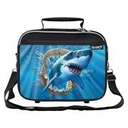 Black : Great White Shark Jaws School Lunchbox For Boys, Girls, Kids (Black)