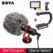 BOYA BY-MM1 Camera Video Shotgun Microphone with Deadcat, Interview Mic for iPhone/Zhiyun Smooth Q/Crane 2/DJI Osmo/Nikon/Canon