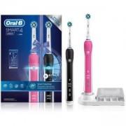 Комплект електрически четки за зъби Oral-B Smart 4 4900, 3 програми, Bluetooth, Таймер, Розово/Черно
