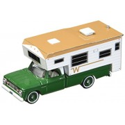 Magic Trick Store 1967 Dodge D-100 Green with Winnebago Slide in Camper Hobby Exclusive 1/64 Diecast Model Car by Greenlight