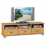 IDIMEX Meuble TV en pin COLMAR, 3 tiroirs + 3 niches, finition cirée