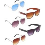 Zyaden Aviator, Aviator, Aviator, Wayfarer, Wayfarer Sunglasses(Blue, Violet, Brown, Brown, Black)