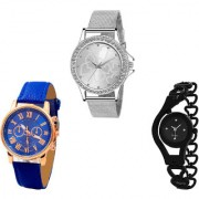 Neutron Modern Wrist Love Valentine Chronograph And Chain Analogue Silver Blue And Black Color Girls And Women Watch - G280-G307-G68 (Combo Of 3 )