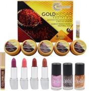 Skin Radiance gold kesar facial kit makeup set of 8 (4 lipsticks 3 nail paints 1sindoor)