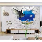WZXHN Murales de pared 3D Papel tapiz personalizado moda tiburón marino pared rota imagen en imagen TV fondo papeles de pared decoración para el hogar Dormitorio Mural