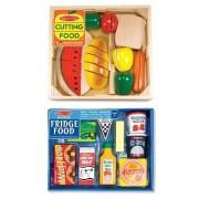 3 Item Bundle: Melissa & Doug Wooden Food Slicing + Fridge Food Set MD487/4076 + Coloring Activity Book