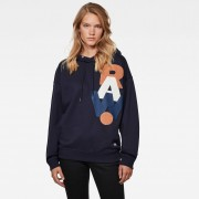 G-Star RAW Dames Graphic Raw Oversized Hoodie Donkerblauw - XS S M L