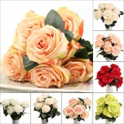 10 Heads Artificial Silk Flower Rose Wedding Bouquet Party Home Decoration