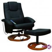 vidaXL Fotelja za masažu crna osloncem za noge