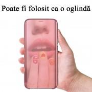 Husa Telefon Xiaomi Redmi Note 9 - Flip Mirror Stand Clear View Rose Gold