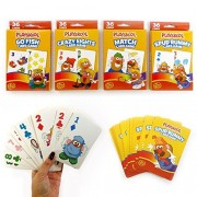 4 Pack Card Games Kids Learning Fun Game Rummy Go Fish Match Crazy Eights Play !