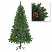 vidaXL Изкуствено коледно дърво с шишарки, зелено, 150 см