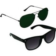 SR Collection Aviator, Wayfarer Sunglasses(Green, Black)