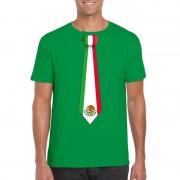 Bellatio Decorations Groen t-shirt met Mexico vlag stropdas heren