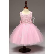 Lejdi Różowa sukienka z obfitą tiulową spódnicą sukienki dla dziewczynek