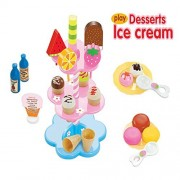 Kocome Kids Food Pretend Play Toy Set Sweet Treats Colorful Ice Cream Dessert Tower