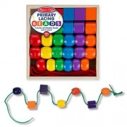 Melissa Doug Primary Lacing Beads - Educational Toy with 8 Wooden Beads and 2 Laces