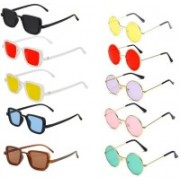Well Shaded Round, Rectangular Sunglasses(Red, Yellow, Black, Blue, Brown, Pink, Violet, Green)