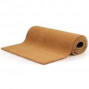 vidaXL Tapete de porta em fibra de coco 17 mm 100x400 cm natural