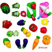 Play Design Fruits and Vegetables Cutting Play Kitchen Set Toy (18 pcs Set)