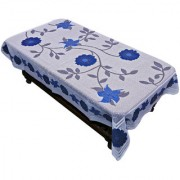 Kuber Industries Center Table White Floral Design with Blue Flowers Shiny Cloth Net 40*60 Inches