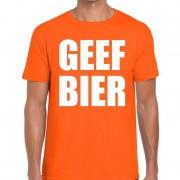 Shoppartners Geef Bier tekst t-shirt oranje heren