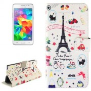 Eiffel Tower Giff Pattern Horizontal Flip Magnetic Buckle Leather Case with Holder & Card Slots & Wallet for Samsung Galaxy Grand Prime G530