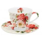 Taza de té decorada flores rojas | comprar menaje de te