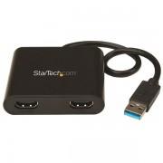 Adaptador de Video Externo USB 3.0 a 2 Puertos HDMI 4K para 2 Pantallas