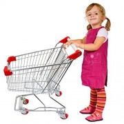 Emmzoe The Little Shopper Real Life Kids Mini Retail Grocery Shopping Cart Toy (Chrome Frame)