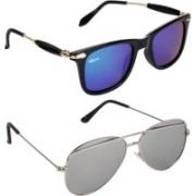 Rich Club Wayfarer, Aviator Sunglasses(Blue, Grey)
