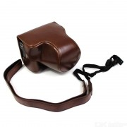 Detachable PU Leather Camera Shell + Strap for Canon EOS M6 Mark II (15-45mm)