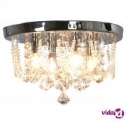 vidaXL Stropna svjetiljka s kristalnim perlama srebrna okrugla 4 x G9