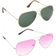 Hrinkar Aviator Sunglasses(Green, Pink)