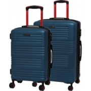 IT Luggage Expressway Polycarbonate Hardsided Suitcase Set | Medium & Cabin Lightweight Travel Bags | 8 Wheel Trolley |16-2337-08| Set of 2 Expandable Check-in Luggage - 27 inch(Blue)