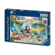 Пъзел Ravensburger 1000 части - Дисни: Карта на света, 7015785