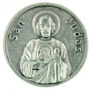 Patron Saint San Judas Silver Tone Pocket Token With Spanish Prayer Back