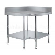 Simply Stainless Corner Bench 900/900 W x 600 D with 100mm Splashback