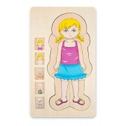 Onshine Your Body 5-Layer Wooden Puzzle Girl Grow Up Structure Jigsaw Puzzles For Toddlers