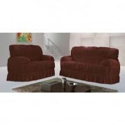 Capa para sofá Malha Marrom V 70x200 cm - 3 e 2 lugares