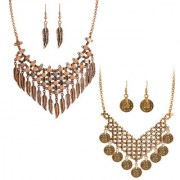 Spargz New Fashion Gold Oxided Plated Statement Choker Pack Of 2 Necklace Set For Women COMBO 669