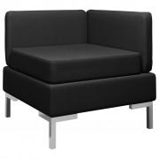 vidaXL Модулен ъглов диван с възглавница, текстил, черен