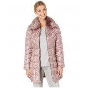 Kenneth Cole New York Zip Front Quilted Puffer w Faux Fur Trimmed Collar Dusty Rose