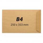 Plic pentru documente din hartie kraft B4, 250 x 353 mm, 90 g/mp, banda silicon, 250 bucati/cutie